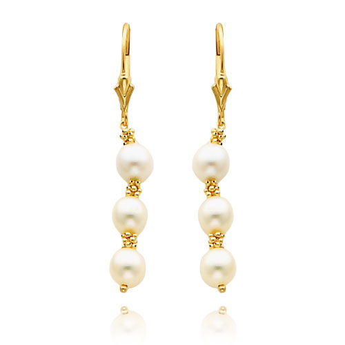 14K Gold  White Tri-Pearl Leverback Earrings. Price: $100.38