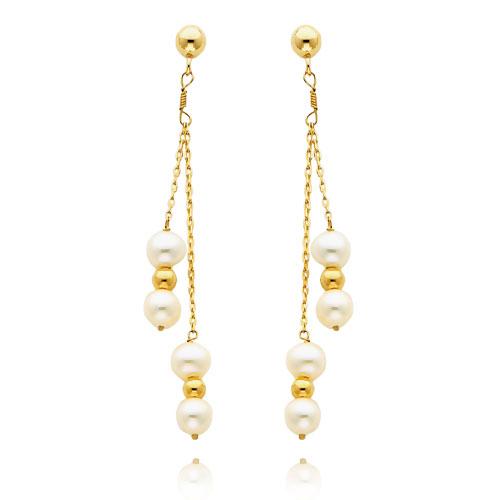 14K Gold Pearl Dangle Earrings. Price: $141.54