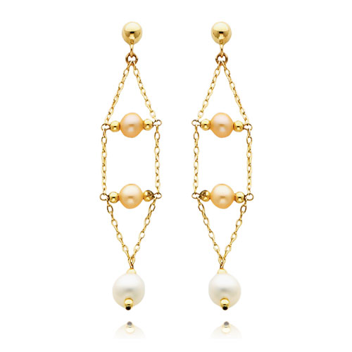 14K Gold Pink And White Pearl Dangle Earrings. Price: $177.50