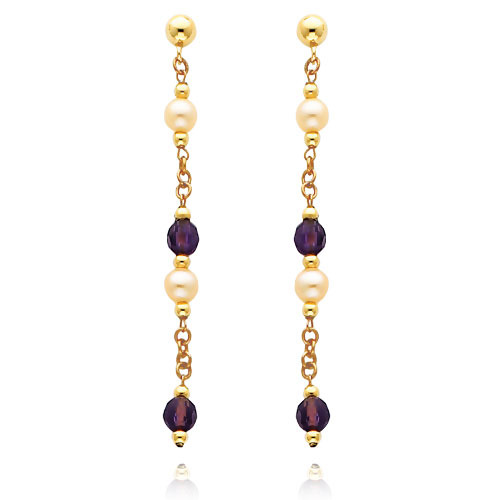 14K Gold  Pink Pearl And Amethyst Dangle Earrings. Price: $150.20
