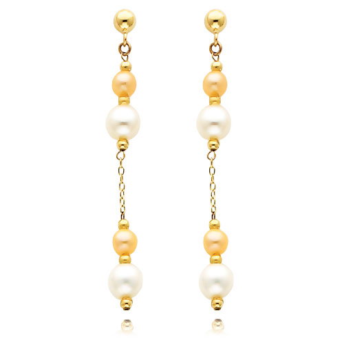 14K Gold Pink And White Pearl Dangle Earrings. Price: $150.20