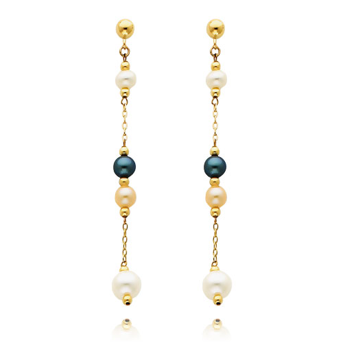 14K Gold  Black Pink And White Pearl Dangle Earrings. Price: $150.20