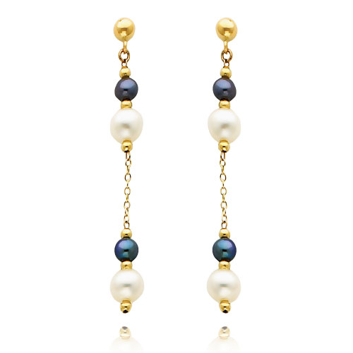 14K Gold  Black And White Pearl Dangle Earrings. Price: $150.20