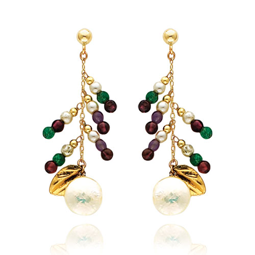 14K Gold Multi-Colored Gemstones And Pearl Dangle Earrings. Price: $225.28