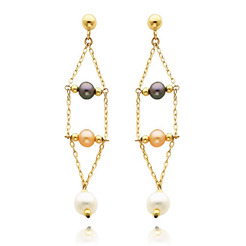 14K Gold Black Pink And White Pearl Dangle Earrings. Price: $177.50
