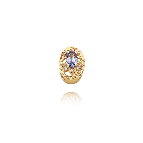 14K Gold .03ct Diamond & Tanzanite Bracelet Slide. Price: $343.76