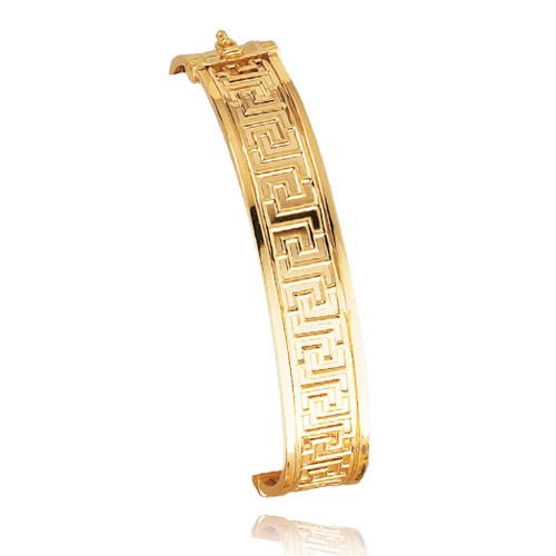 14K Gold 12.75mm Fancy Greek Hinged Bangle Bracelet. Price: $922.64