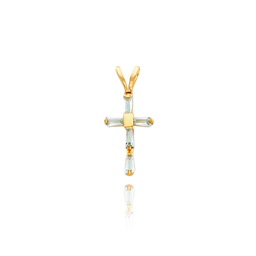 14K Gold Aquamarine Cross Baby Necklace. Price: $92.48