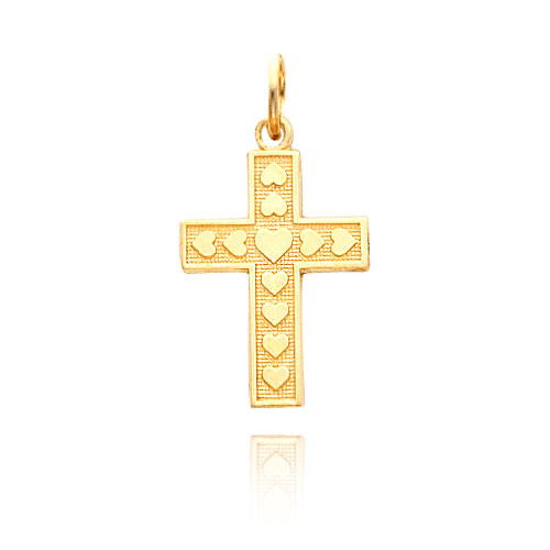 14K Gold Hearts On Cross Necklace. Price: $150.32