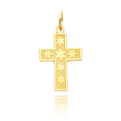 14K Gold Cross With Flower Design Necklace. Price: $163.62