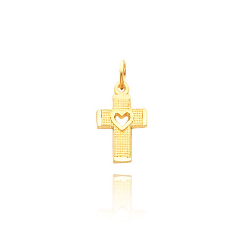14K Gold Heart Cut-Out On Cross Necklace. Price: $110.06