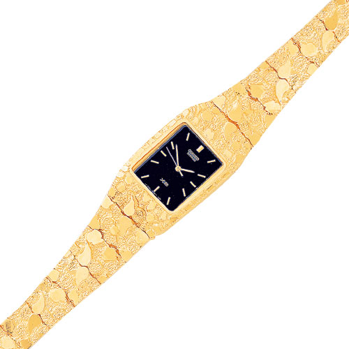 10K Gold Black Dial Square Face Nugget Watch. Price: $3022.56