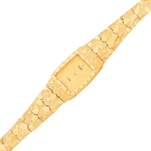 10K Gold Yellow Dial Square Face Nugget Watch. Price: $2531.88