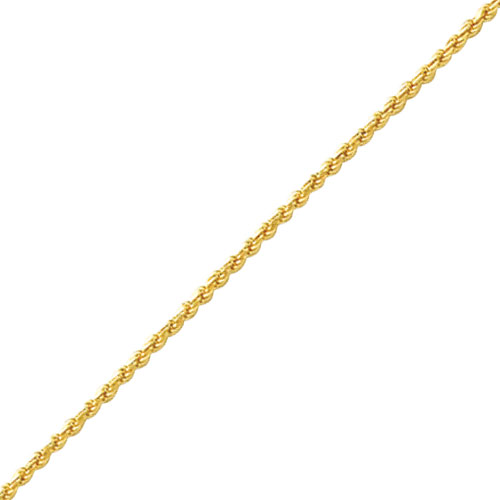 14K Gold 1.4mm Solid Diamond-Cut Machine-Made With Lobster Clasp Rope Bracelet. Price: $315.92
