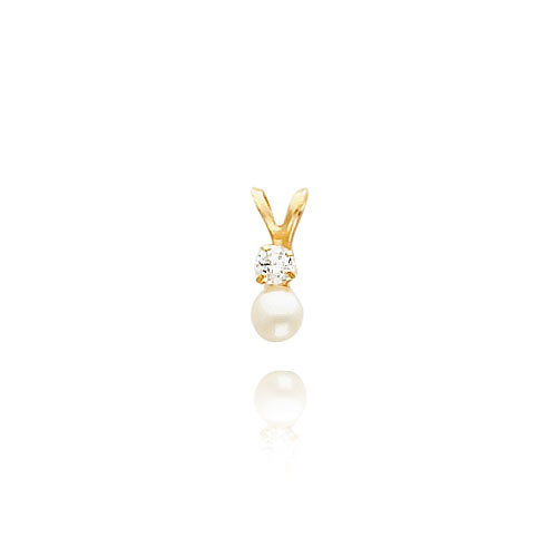 14K Gold 4mm Cultured Pearl And CZ Necklace. Price: $71.76