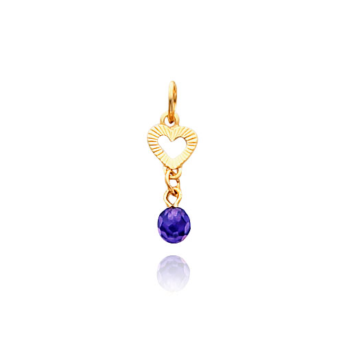 14K Gold Violet CZ Heart Necklace. Price: $53.06