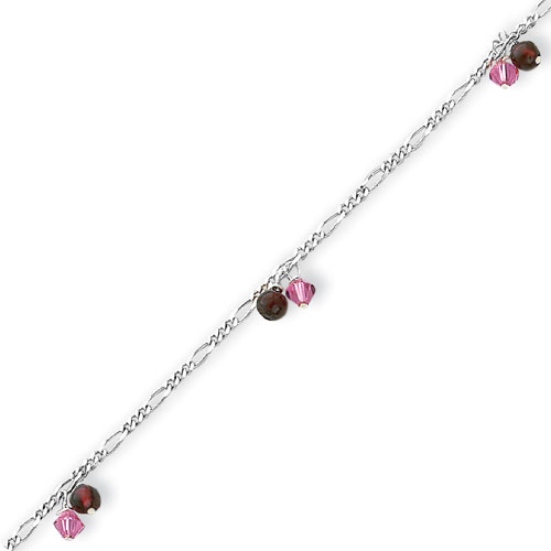 Sterling Silver Polished Rhodolite Garnet & Pink Crystal Beaded Anklet. Price: $25.98