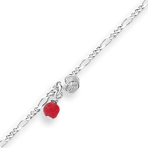 Sterling Silver 10''  Polished Strawberry Quartz Beaded Anklet. Price: $15.27