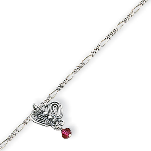 Sterling Silver Antiqued Dark Pink Crystals & Butterflies Figaro Anklet. Price: $18.03