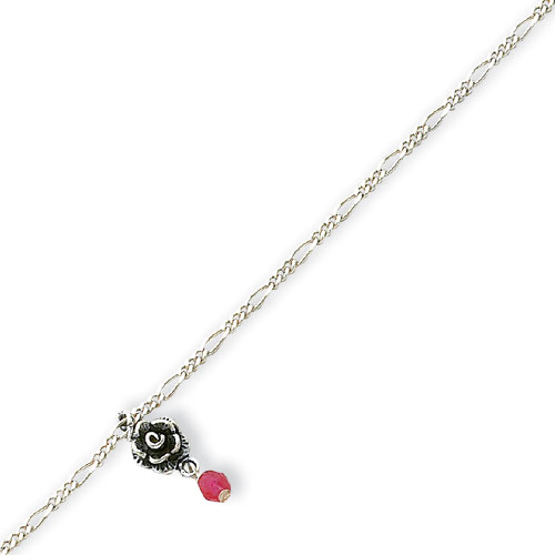 Sterling Silver Antiqued Strawberry Quartz & Roses Figaro Anklet. Price: $13.56