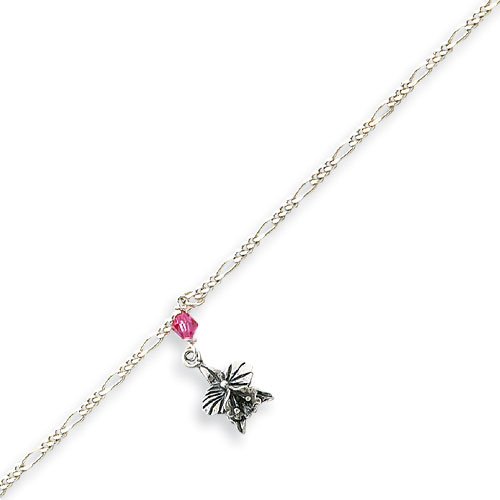 Sterling Silver Antiqued Light Pink Crystals Dangling Flowers Anklet. Price: $17.19