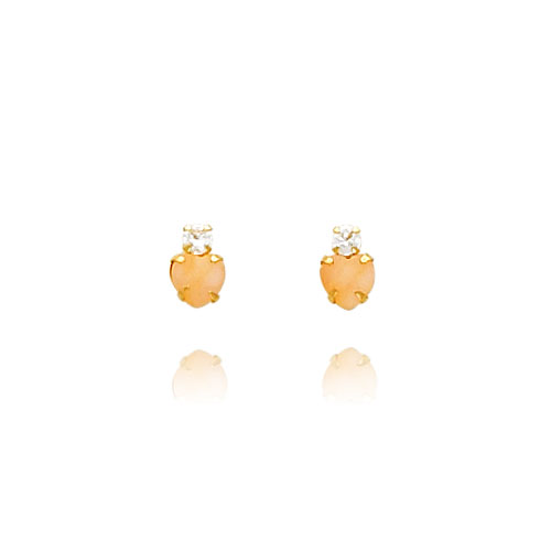 14K Gold Pink Opal And CZ Heart Earrings. Price: $36.36