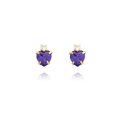 14K Gold Violet CZ And CZ Heart Earrings. Price: $39.48