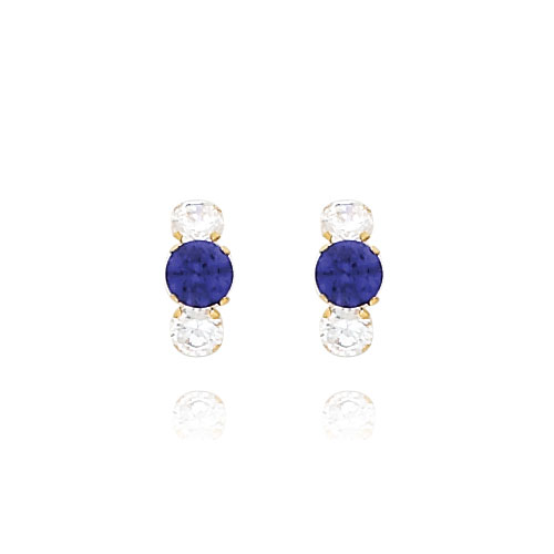 14K Gold Violet CZ And Clear CZ Earrings. Price: $42.76