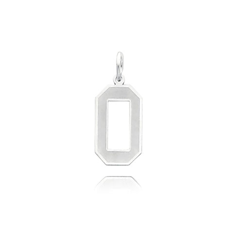 14K White Gold  Medium Satin Number 0 Charm. Price: $73.14