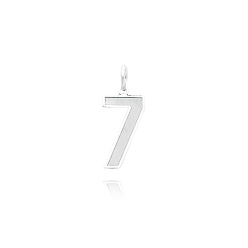 14K White Gold Small Satin Number 7 Charm. Price: $40.90