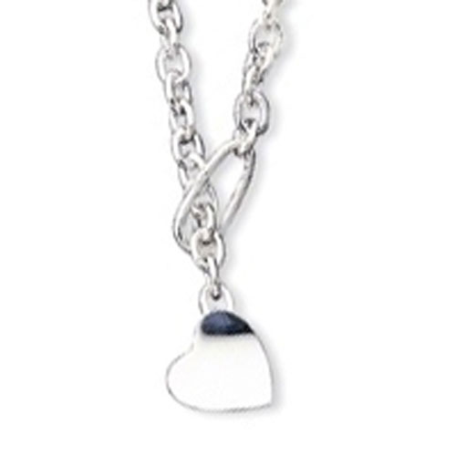 Sterling Silver Heart Fancy Link Necklace. Price: $180.58