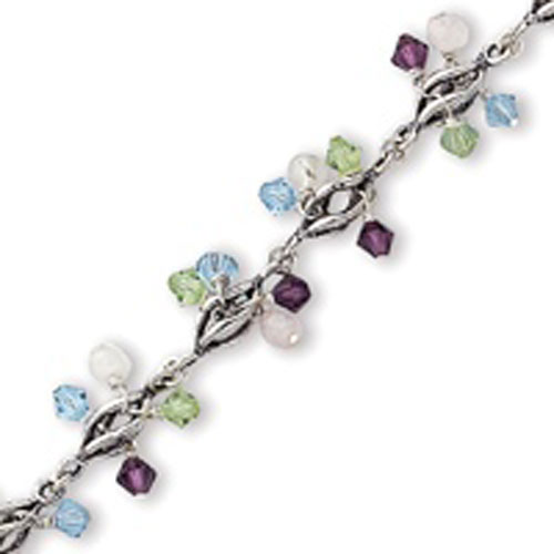 Sterling Silver  Multi-Colored Crystal Bracelet. Price: $58.64
