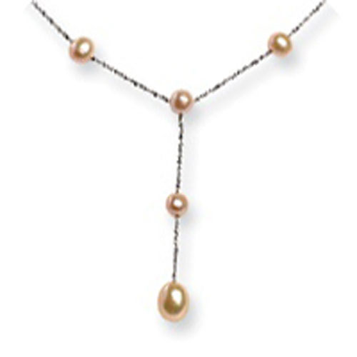 Sterling Silver Freshwater Cultured Peach Pearl Drop Necklace. Price: $104.24