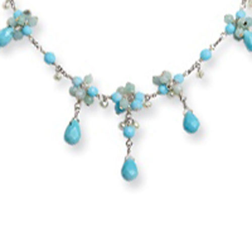 Sterling Silver Blue Agate, Amazonite, Freshwater Cultured Pearl Necklace. Price: $98.62