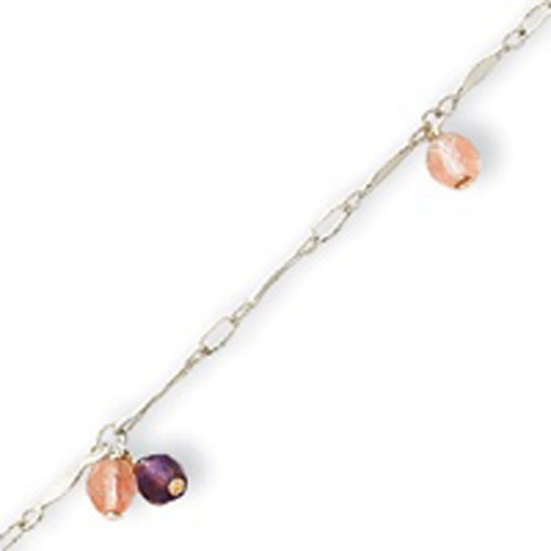 Sterling Silver Amethyst And Cherry Quartz Anklet. Price: $17.40