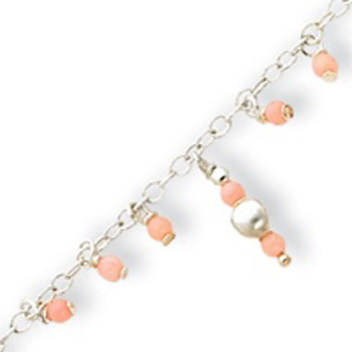 Sterling Silver Pink Agate Anklet. Price: $29.20