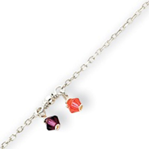 Sterling Silver Purple And Orange Crystal Anklet. Price: $16.00