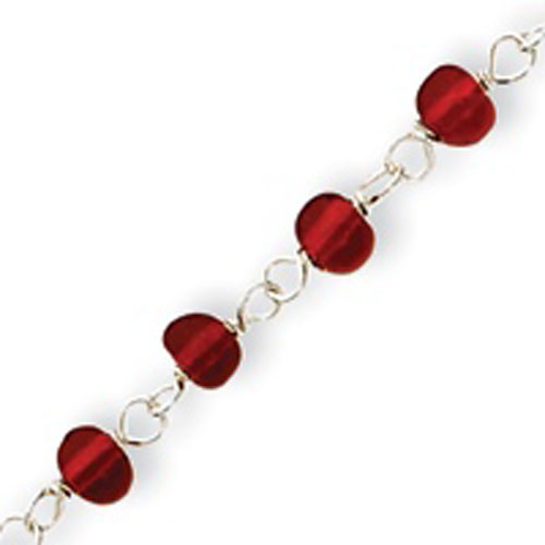 Sterling Silver Red Bead With Heart Anklet. Price: $21.32