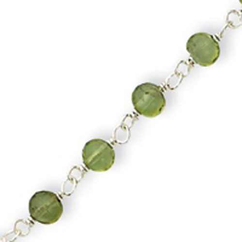 Sterling Silver Green Beads With Heart Anklet. Price: $26.90