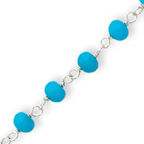 Sterling Silver Blue Bead With Heart Anklet. Price: $24.24