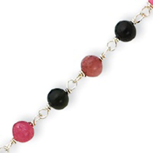 Sterling Silver Multicolored Bead With Heart Anklet. Price: $28.48