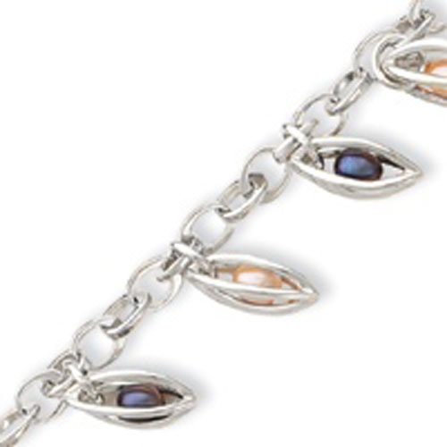 Sterling Silver Floating Mixed Pearl Dangle Bracelet. Price: $127.74