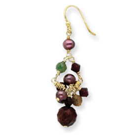 Sterling Silver & Vermeil Carnelain, Aventurine, Jasper, Freshwater Pearl Earrings. Price: $27.12