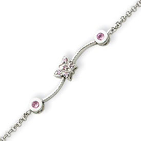 Sterling Silver Pink CZ Childs Bracelet. Price: $43.62