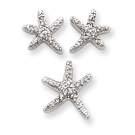 Sterling Silver CZ Starfish Earrings And Pendant Set. Price: $55.56