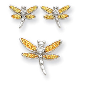 Sterling Silver Yellow CZ Dragonfly Earrings And Pendent Set. Price: $52.44