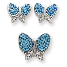 Sterling Silver Blue Crystal Butterfly Earrings And Pendant Set. Price: $66.18