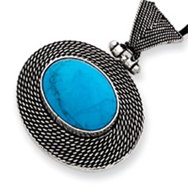 Sterling Silver Filigree And Turquoise Pendant Necklace. Price: $69.28