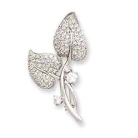 Sterling Silver CZ Leaf Pin. Price: $76.02