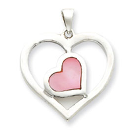 Sterling Silver Pink Enameled Heart In Heart Pendant. Price: $46.86